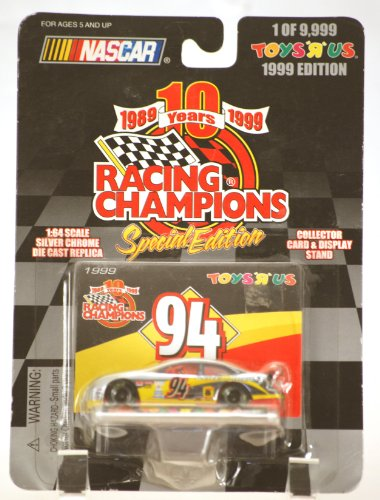 1999 - Racing Champions 10Th Anniversary Special Edition - Nascar - Bill Elliott #94 - Ford Taurus - Mcdonald'S Drive Thru Racing - 1 Of 9,999 - 1:64 Scale Silver Chrome Die Cast - Card & Stand - Moc - Limited Edition - Collectible front-963741