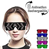 Fancy LED Light up Glasses, USB Rechargeable&Wireless with Flashing LED Display, can Work 6 Hours, Have 8 Dynamic Patterns, Glowing Luminous Glasses for Christmas,Party,Bars,Rave,Festival,etc.(White) (Color: White, Tamaño: Small)