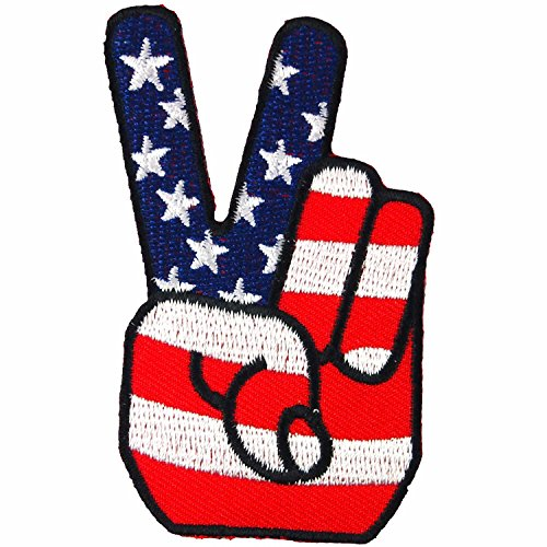 USA Peace Fingers Victory Sign American Flag Embroidered Iron on Patch