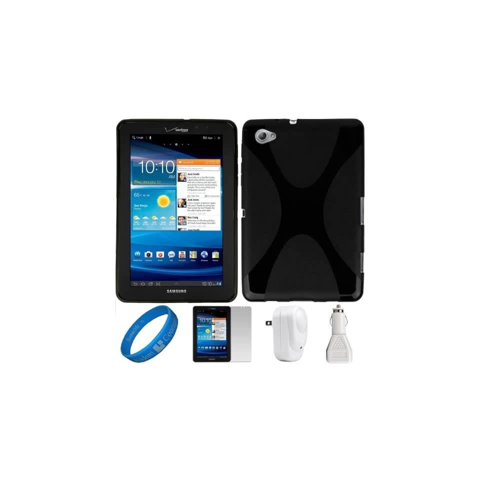 SumacLife Black X Shape Design Premium TPU Protective Skin Cover for Samsung Galaxy Tab 7.7 4G LTE Android Wireless Tablet (fits All Models) + Clear Anti Glare Clear Screen Protector + White USB Car Charger + White USB Wall Charger + SumacLife TM Wisdom Co
