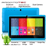 "ProntoTec 7"" Android 4.2 Tablet PC, Cortex A8 1.2 Ghz Dual Core Processor,512MB / 4GB,Dual Camera,HDMI,G-Sensor (Blue) from ProntoTec"