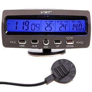 Détecteur tension température voiture Auto Lcd affichage digital afficheur Thermometre Controle reveil Alarme horloge