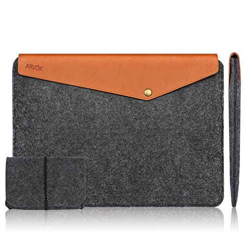 Arvok-Apple-MacBook-AirPro-Filz-Leder-Notebooktasche-LaptoptascheLaptop-Sleeve-Mit-Extra-Ladegert-Tasche-Case-BagUltra-Slim-Notebook-Computer-Case-Briefcase-Carrying-Bag-Ultrabook-Laptop-Bag-Case-Pouc