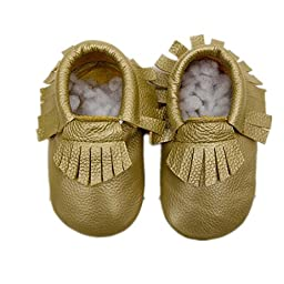 Voberry® Baby Boys Girls Soft Soled Tassel Crib Shoes PU Moccasins (0~6 month, Gold)