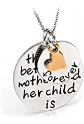 YFN 925 Sterling Silver Moom Child's Love Family Message Engraved Jewelry Heart Pendant Charm Necklace