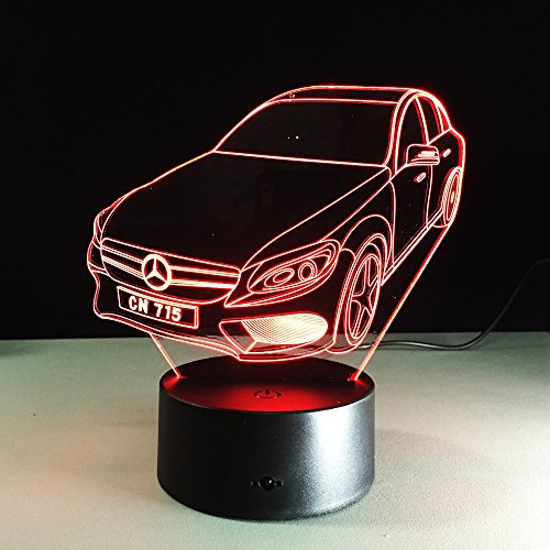 Circle Circle Car Shape 3D Optical Illusion Visual LED Table Lamp 7 Colors Change and 15 Keys Remote Control for Baby Kids Children Bedroom Decor (Car Table Lamp compare prices)