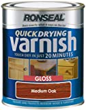 Ronseal QDVGMO250 250ml Medium Quick Dry Varnish Coloured Gloss Oak