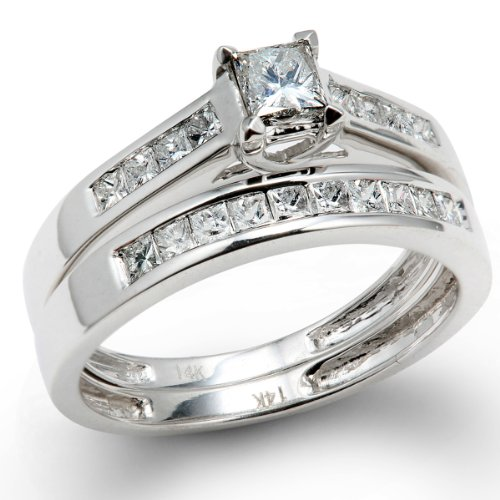 1.00 Carat (ctw) 14k White Gold Princess Diamond