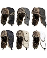 Mens Winter Warm Shower Proof Outdoor Breathable Durable Russian Fake Fur Trapper Ski Hat