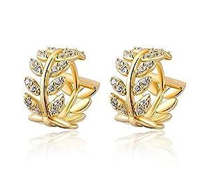NIANPU Trendy Women's 14K Gold Zircon Earrings Jewelry Stud Dangle Ear-Rings from Chenxiaojing