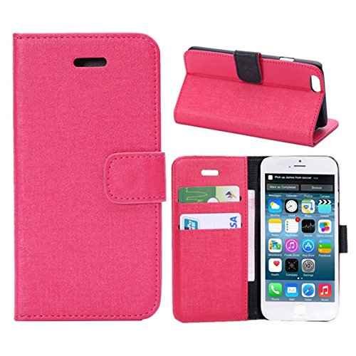 Iphone 6 Phone Case Borch Fashion Multi-Function Wallet For Iphone 6 Case Luxury Pu Leather Carrying Case Cover With Credit Id Card Slots/ Money Pockets Flip Leather Case For Iphone 6 5.5 Inch Borch Screen Protector (Rose Red)
