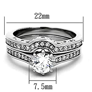 3.20 Cwt. Round Cut Aaa Cz Cubic Zirconia High Polish Stainless Steel Wedding Ring Set Women Non Tarnish size 9 by FlameReflection