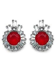 4.40 Grams Red & White Cubic Zircon .925 Sterling Silver Earrings