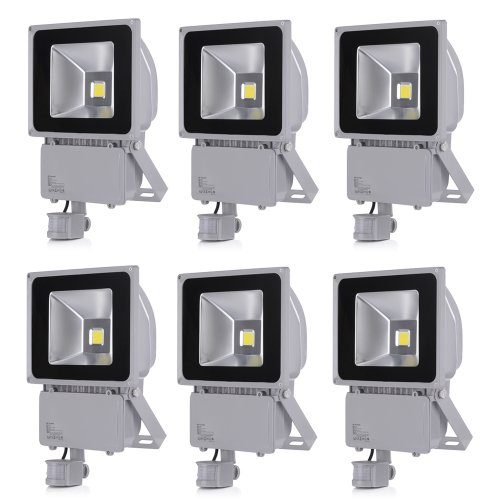 10W 20W 30W 50W 100W Led Flood Lighting Garden Spot Detector + Object With Cold White & Warm White Smd Motion (Cool White 100W, 6)