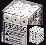 Chessex Opaque 12mm d6 White w/Black...