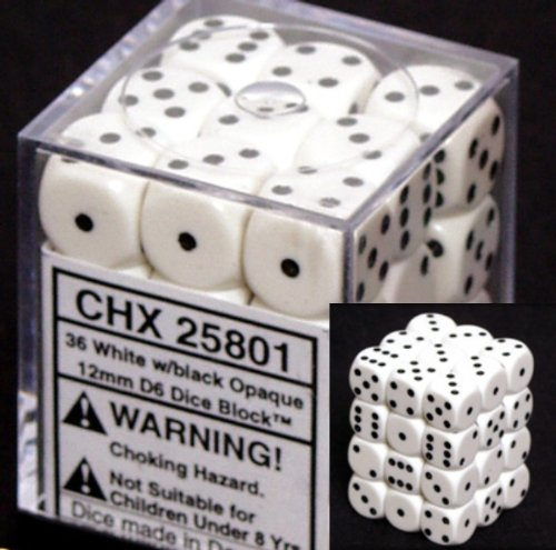 Chessex Opaque 12mm d6 White w/Black Dice Block 36 Dice