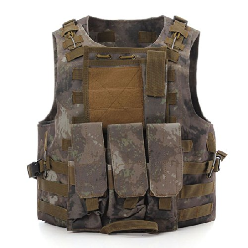 CAMTOA Tactical Vest Combat Molle Assault Military Army Airsoft Tactical SWAT Vest for Police Holster AT Camo 2