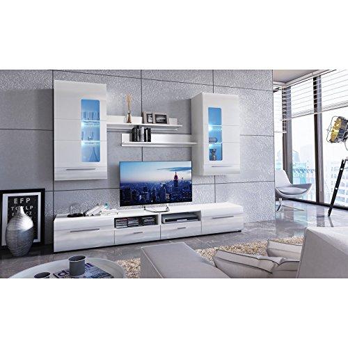 roller wohnwand iglesia 2 wei hochglanz 235 cm breit. Black Bedroom Furniture Sets. Home Design Ideas