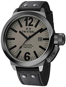 TW Steel Herren-Armbanduhr XL Canteen Swiss Made Analog Quarz Leder CE1051