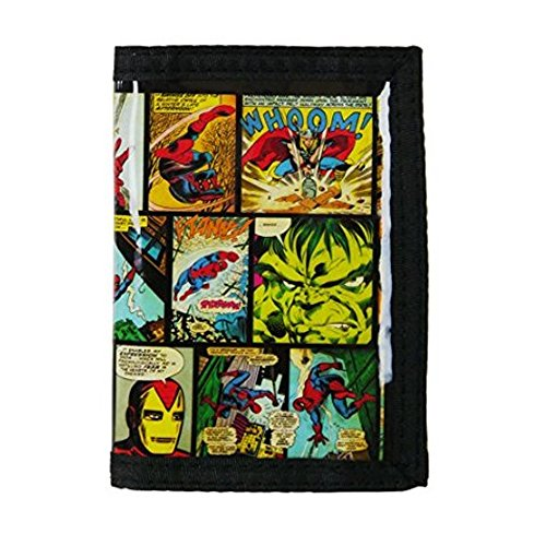 Marvel Comics Avengers Velcro Ripper Wallet Tri-Fold Easy Wipe