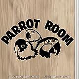 PARROT ROOM Bird Macaw Amazon Conure Bird Parrots Vinyl Decal Sticker Aviary Door Wall Sign BLACK