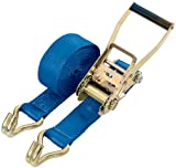 DRAPER 5M x 50mm WIDE HEAVY DUTY RATCHET TIE DOWN STRAPS WITH HOOKS - Quality polyester webbing with hooks. S.W.L.2500kg (breaking strain 5000kg) per strap. Display carton.