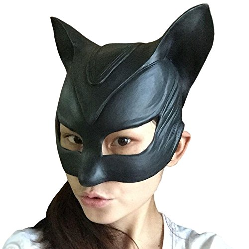 [Movie Batman Catwoman Rubber Latex Party Mask Halloween Lady Cosplay Costume Prop] (Latex Catwoman Costumes)