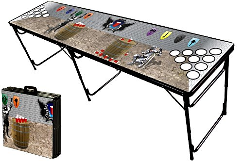 8-Foot Professional Beer Pong Table w/ Holes - Medieval Pong Graphic (33 Other Graphics Available)