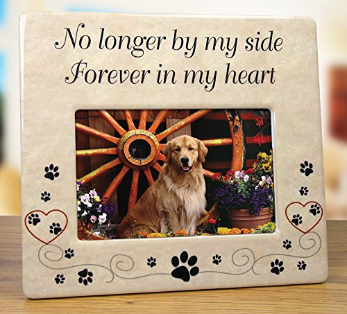 Pet Memorial Ceramic Picture Frame - No Longer By My Side Forever in My Heart - Loss of a Pet Gift - Pet Photo Frame - Pet Sympathy Gift - In Memory of a Pet (Dog Picture Frame Memorial compare prices)