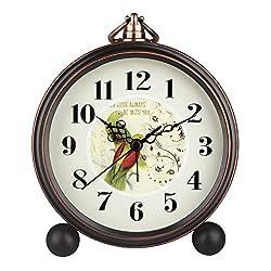 HENSE 5 Classic Retro Antique Design European Style Decorative Mantel Clock Mute Silent Quiet Quartz Movement Metal Frame Desk Table Alarm clock HA65 (Parrot)