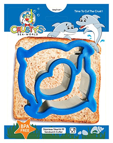 Crusty's Dolphin Sandwich Cutter Stainless Steel Crust & Cookie Cutter - Fun Bites for Kids & Toddlers - Extra Deep & Dishwasher Safe - BPA Free Bento Box Accessory [Dolphin Blue] (Crustless Sandwich Cutter compare prices)