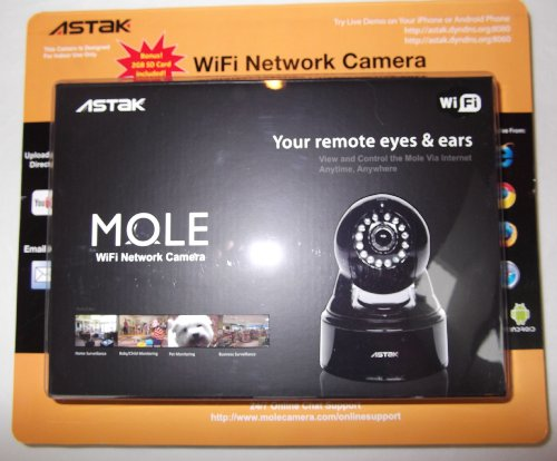 Astak Mole Wifi Built-In Microphone With Phone (Iphone,Android) Remote Monitoring Support Home Monitoring Camera