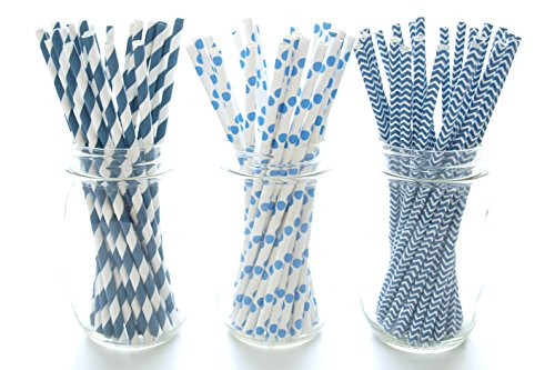 Navy Blue Straws - Paper Party Straws (75 Pack) - Assorted Design Striped, Polka Dot & Chevron Wedding Straws, Cake Pop Sticks, Lollipop Sticks