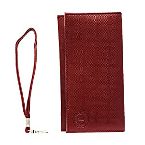 Jo Jo A5 D4 Leather Wallet Universal Pouch Cover Case For LG Optimus LTE2 Wine Red