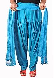Tinnu G Women's Cotton Salwar and Dupatta Set (TGCSD1102_Blue_Free Size)