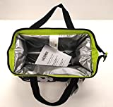 Thermos Brand Insulated 9 Can Tote with 3 Cryopak Ice-Paks in Green and Flower Pattern