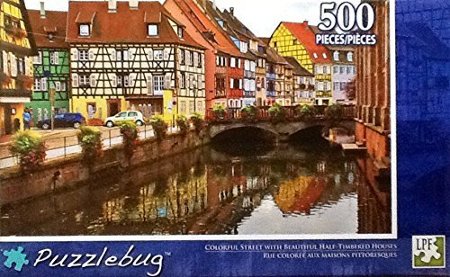 "Puzzlebug 500 Piece Puzzle 18.25"" X 11"" - Colorful Street with Beautiful Half-Timbered Houses - 1"