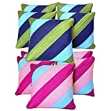Diagonal Patch Quilting Cushion Covers Combo Green & Pink 40 X 40 Cms(10 Pcs Set)