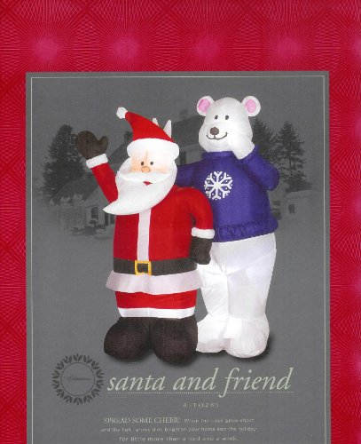 Santa and Polar Bear Friend 4 Ft. Christmas Airblown