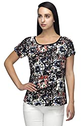 Iindietoga Designer crepe black multi colored abstract printed Casual Tops for Girls