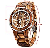 BEWELL ZS Wooden Watch Men Quartz with Luminous Hands 30M Water Resistance (ZEBRAWOOD)