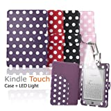 """eLifeStore� Stylish Polka Dot Kindle Touch / Kindle Paperwhite PREMIUM Leather Case Flip Cover Wallet with Magnetic Closure + Clip-On Bright White LED Reading Light for New 2012 Amazon Kindle Touch / Kindle Paperwhite Wi-Fi 3G 6"""" inch - Book Style (Purple and White Polka Dot)by eLifeStore"""