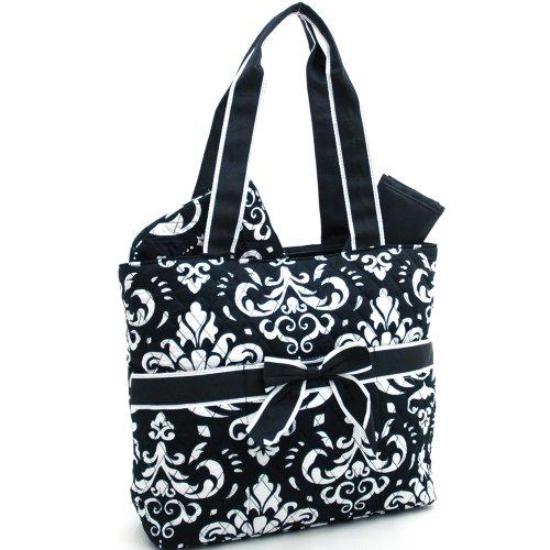 quilted-damask-print-3-pc-set-diaper-bag-w-changing-pad-cosmetic-bag-black-white-w-black-trim