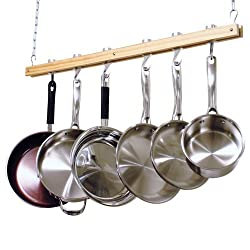 Cooks Standard Ceiling Mount Wooden Pot Rack, Single Bar