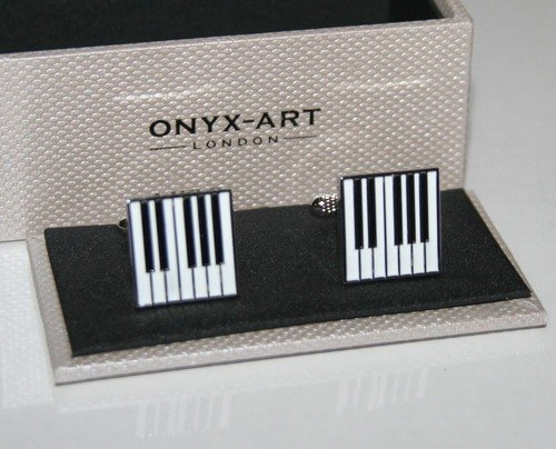 Manschettenknpfe-KlavierKeyboard-Schlssel-Manschettenknpfe-quadratisch-Design-NEU-Geschenk