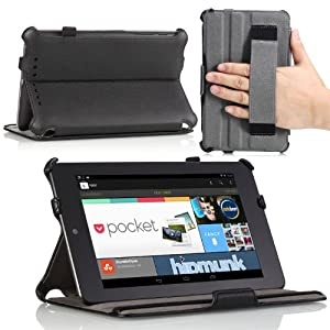 MoKo Slim-Fit Multi-angle Folio Cover Case for Google Nexus 7 Android Tablet by ASUS, BLACK (with Smart Cover Auto Wake/Sleep Feature)