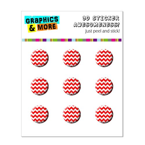 Graphics and More Vintage Chevrons Red Home Button Stickers Fits Apple iPhone 4/4S/5/5C/5S, iPad, iPod Touch - Non-Retail Packaging - Clear