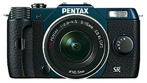 Pentax Q10 Systemkamera mit 5-15mm Objektiv (7,6 cm (3 Zoll) LCD-Display, 12,4 Megapixel Kamera, Full HD, mini HDMI, USB 2.0) marine metallic/schwarz