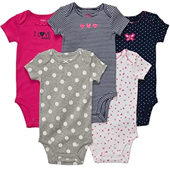 Carters 5 pack Short Sleeve Body suit girls Navy and Pink 3 months