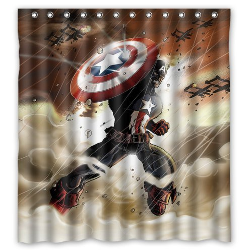 Custom Unique Design Cartoon Anime Superhero Captain America Waterproof Fabric Shower Curtain, 72 By 66-Inch